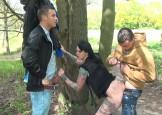 nymfomane wordt in het park geneukt